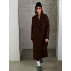 Коричневое прямое двубортное пальто
