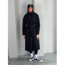 Черный стеганный пуховик пальто миди