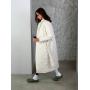 Молочный стеганный пуховик пальто миди