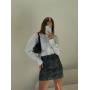 Вельветовая мини юбка с принтом