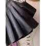 Кожаная плиссированная мини юбка
