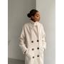 Молочное двубортное пальто миди