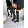 Черные ботфорты на низком каблуке Италия