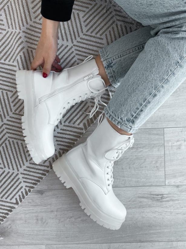 Белые грубые ботинки со шнуровкой Италия
