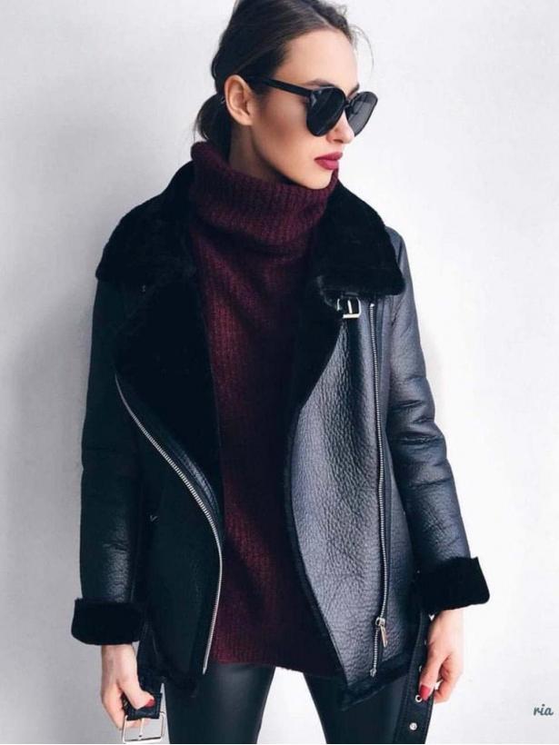Черная дубленка куртка авиатор с мехом