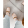 Бежевые ботинки носки с цепями Италия