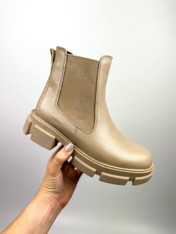 Темно-бежевые ботинки челси из кожи