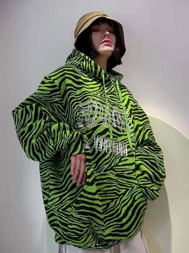 Теплый худи зебра в корейском стиле