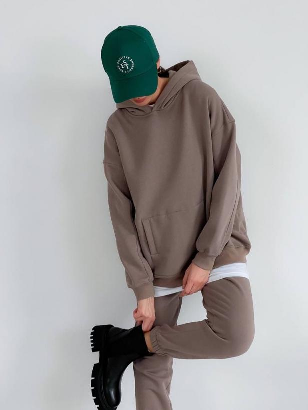 Кофейный костюм с капюшоном на флисе