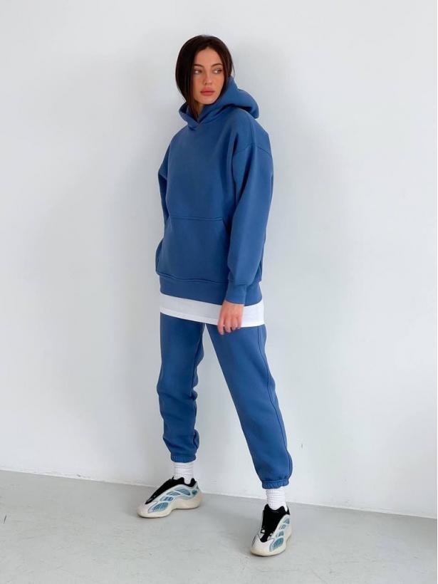 Синий теплый спортивный костюм с капюшоном