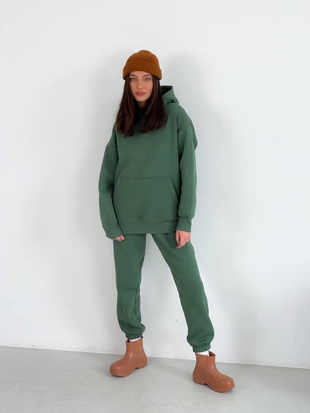 Травяной зеленый теплый костюм с капюшоном