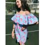 Голубое хлопковое платье фламинго с воланом