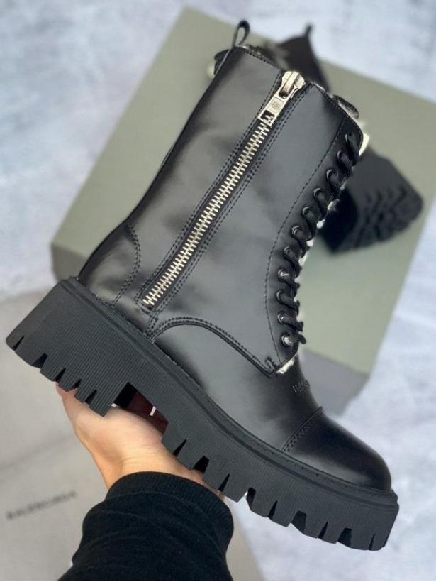 Зимние черные ботинки Balenciaga Side-Zip Boots