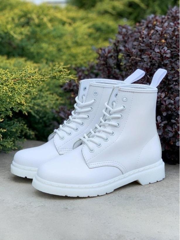Белые кожаные ботинки Dr. Martens 1460