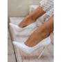 Белые туфли лодочки на шпильках Италия