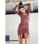 Темно-розовое платье мини с драпировкой