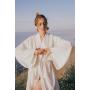 Молочное льняное платье-кимоно