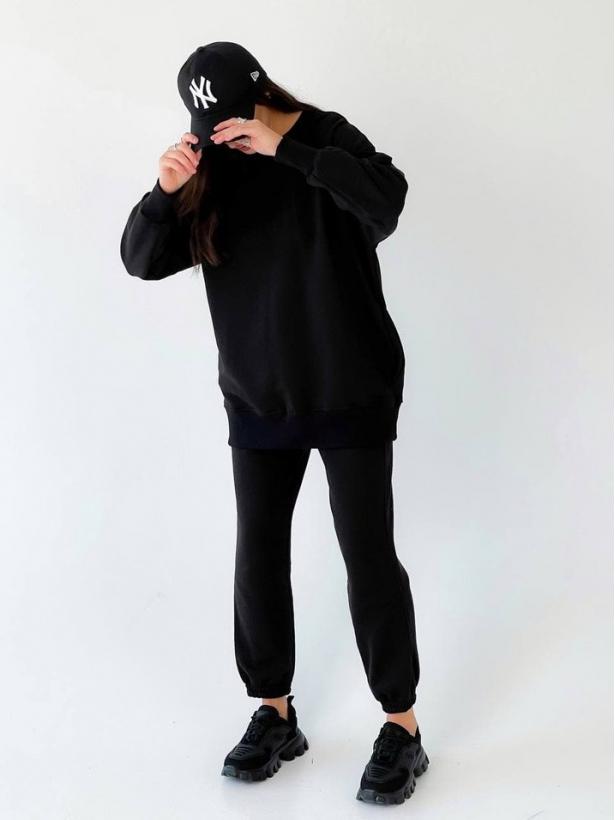 Черный костюм с длинным свитшотом