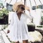 Белая короткая пляжная туника платье