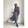Синее шифоновое платье с оборками