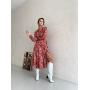 Красное шелковое платье в цветочный принт