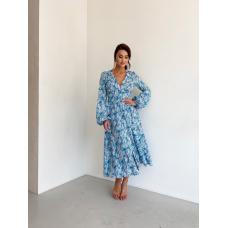 Голубое платье в листья из вискозы
