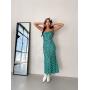 Бирюзовое платье комбинация миди в горох