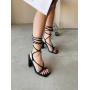 Черные босоножки с завязками на каблуках Италия