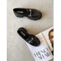 Черные лаковые туфли лоферы на платформе Италия