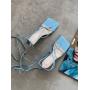 Голубые босоножки на шпильках с завязками Италия