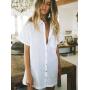 Белая пляжная рубашка с коротким рукавом