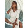 Длинная белая хлопковая пляжная туника платье