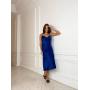 Синее сатиновое платье комбинация миди