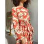 Красное шифоновое платье миди в крупные цветы