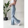 Светло-голубые широкие прямые джинсы палаццо