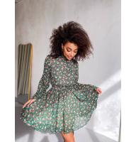 Зеленое шифоновое платье в цветочек