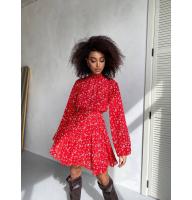 Красное шифоновое платье с открытой спиной