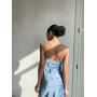 Голубое платье комбинация миди в цветочек