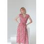 Красное цветочное платье на запах из штапеля