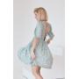 Мятное платье в цветочек с открытой спиной