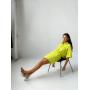 Лимонный костюм кроп-рубашка и мини юбка