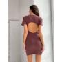 Платье футболка мокко с вырезом на спине