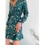 Платье мини в цветочек на запах из вискозы