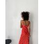 Красное платье комбинация в крупный горох