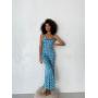Голубое платье комбинация в крупный горох
