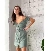 Фисташковое короткое платье на пуговицах
