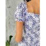 Белое платье в голубой цветочек на пуговицах