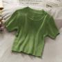 Облегающая кроп футболка в рубчик