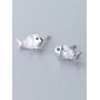 Серебряные серьги гвоздики Рыбки