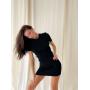 Черное платье футболка мини с вырезом на спине